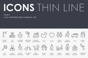 family Thin Line Icons