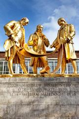 Boulton, Watt und Murdoch Statue an der Broad Street, Birmingham