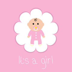 Baby shower card. Its a girl. Flower frame. Flat design style.