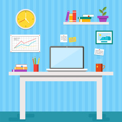 Flat design vector illustration of modern office interior. Creative office workspace with computer, notes, folders, books, plants, mug. Flat minimalistic style and color