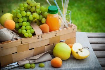 Picnic Basket Yellow Orange Green Fruits Grass