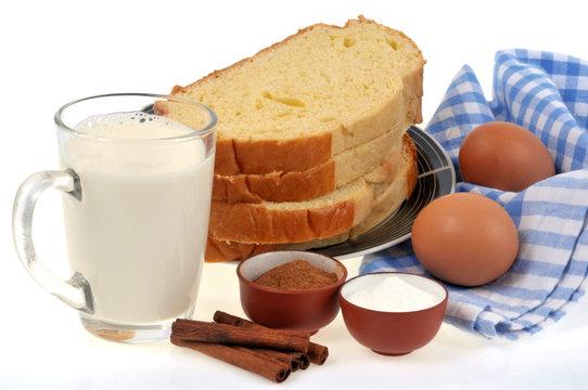 Les ingrédients pour faire du pain perdu