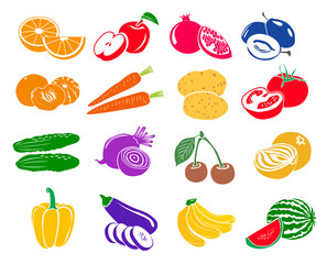 Fruits and vegetables set icons