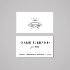 Furniture business card design concept. Furniture logo with couch and ribbon. Vintage, hipster and retro style. Black and white.