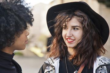 girls talking on the street