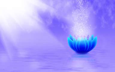 image of a stylized lotus flower in the water close-up