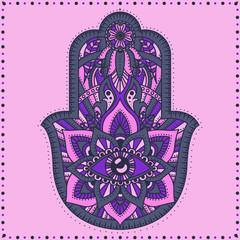 Vector Indian hand drawn hamsa with ethnic ornaments.Hamsa hand, Hand of Fatima - amulet, symbol of protection