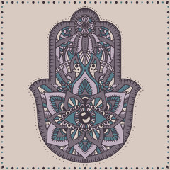 Vector Indian hand drawn hamsa with ethnic ornaments.Hamsa hand, Hand of Fatima - amulet, symbol of protection