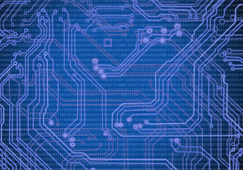abstract image of microcircuit against a blue background close-up