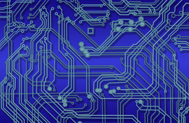 image of microcircuit against a blue background close up