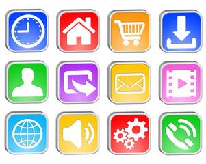 Web square icons set