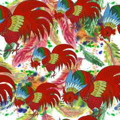 Hand drawn abstract colorful seamless pattern with rooster. 2017 is the year of Red Fire Chicken on Chinese zodiac. Can use them for greeting card, prints, calendar, poster, wall paper, wrapping.