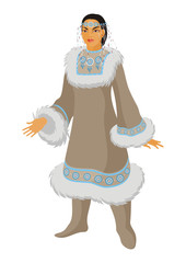 the young Chukchi woman in national clothes