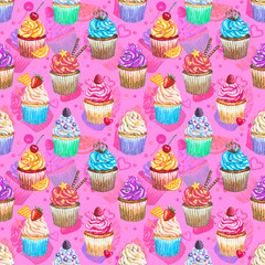 Seamless pattern with watercolor cupcakes.