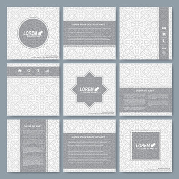 Modern vector templates for square brochure, cover, layout, card or magazine. Business, science, medicine and technology design. Background seamless pattern in arabian style
