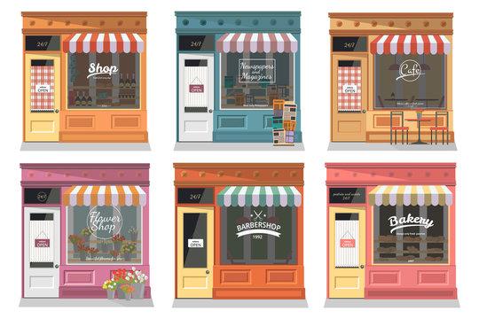 Shops and stores facade icons set in flat design style. Shop, Newspaper shop, Cafe, Barber, Flower shop, Bakery. Vector illustration