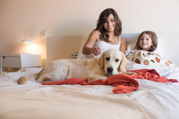 Family with dog in the bed - Focus on dog