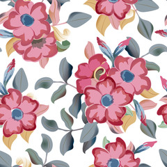 Vector seamless pattern displaying bold flowers. Elegance Seamless background. Floral illustration.