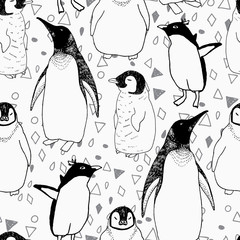 Penguins lifestyle seamless vector pattern. Cute birds and lettering. Trendy background for scrapbook paper, textile, web and packaging.