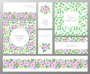 set consisting of two seamless floral pattern, leaf border and welcome or greeting cards. Wedding, mother's birthday.