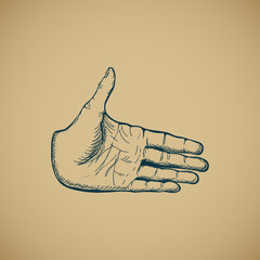 Hand draw sketch of vintage style hand vector
