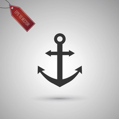 Icon of an Anchor isolated on gray.