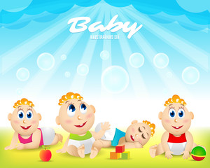 Colorful Baby set. Playground. Template for advertising brochure. Ready for your message. Baby look up with interest. Funny cartoon character. Vector illustration