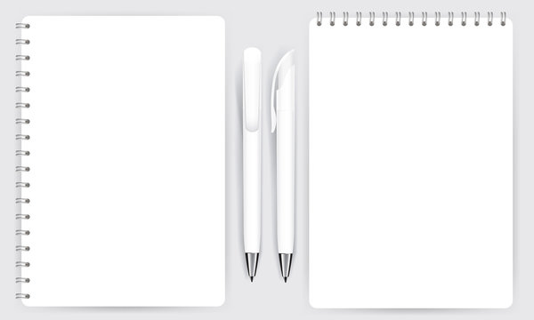 Blank realistic spiral notepad notebook and pen isolated vector