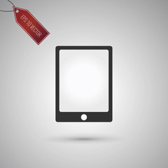 Tablet icon isolated on gray background