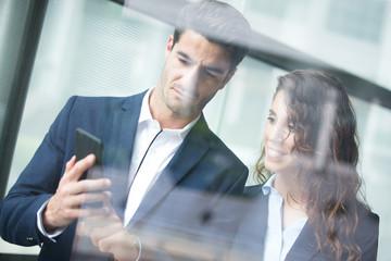 Business team use smart phone