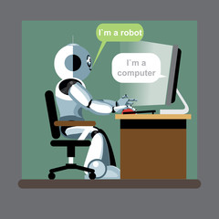 Silver humanoid robot sitting on a chair and working on a computer. Digital background vector illustration.