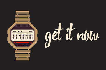 Get it now banner with digital watches