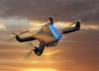 Autonomous unmanned drone with surveillance camera flying in sunset sky.   3D rendering image in original  design.
