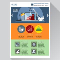 Seo agency web site theme layout. Digital background vector illustration.
