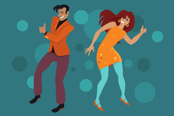 Fototapete - Young couple dressed in retro style clothes doing the Hitch Hike dance, EPS 8 vector illustration