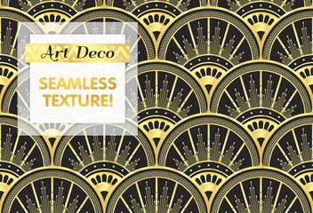 VECTOR eps 10. Art deco geometric Seamless pattern in black gold colors. Gold and silver print