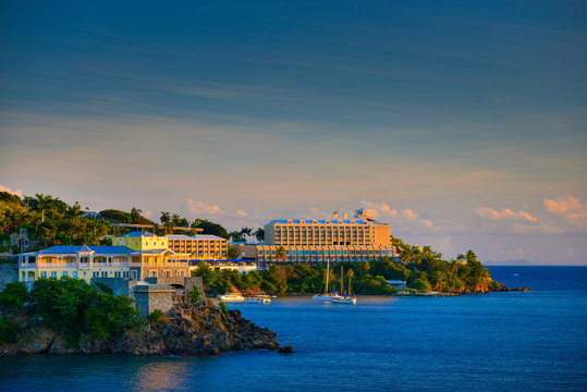 Sunset in St. Thomas from Carnival Cruise Line Ship to Marriott Beach Resort