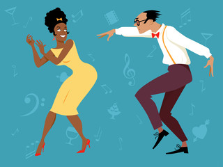 Wall Mural - EPS 8 vector illustration of a mixed-race couple dressed in 1960s fashion dancing, no transparencies