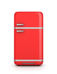 Retro refrigerator isolated on white background. 3d illustration