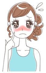 日焼けに悩む女性のイラスト