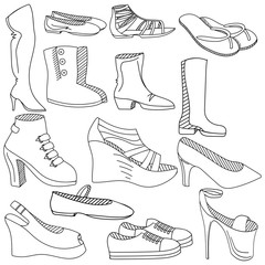 Shoes coloring book vector illustration