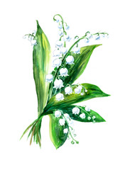 lily of the valley bouquet. Greeting cards. Pattern from white flowers. Watercolor hand drawn illustration