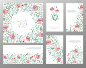 Set of hand draw floral card. Wedding invitation, thank you card, save the date buisiness set.