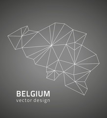 Belgium black outline vector map