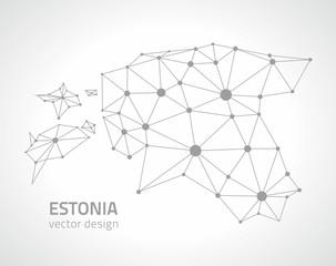 Estonia grey vector contour map