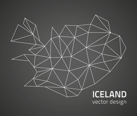 Iceland outline grey vector polygonal map