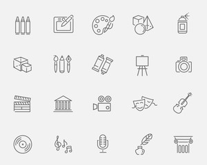 Line Art Icons. Music, theater and artistic icons