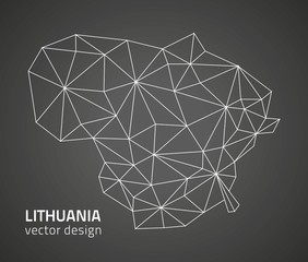 Lithuana grey vector Europe outline map