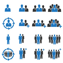people working icon . people icon blue .  people different icon