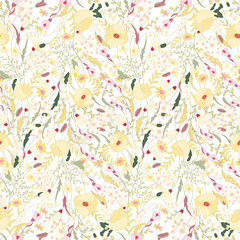 Floral seamless pattern with spring flowers. Endless texture for romantic  design, decoration,  greeting cards, posters,  invitations, advertisement.